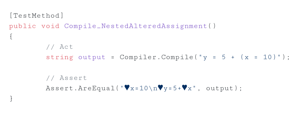 Nested assignment compilation unit test